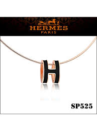 hermes pop h narrow pendant necklace in black enamel with rose gold plating