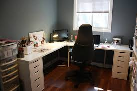 image of home office design with l shaped desk
