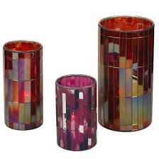 colorful glass mosaic cylinder candle holders