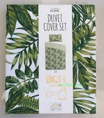 tropical green leaf print duvet set