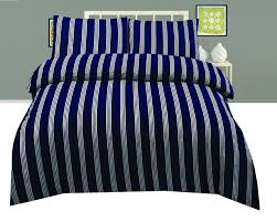cotton rich navy and white striped duvet cover pillowcase set double marine