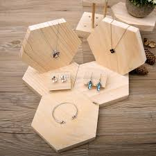 ddisplaycreative hexagon pendant jewelry display tray solid wood personalized necklace display holder pine wooden bracelet display stand creative hexagon