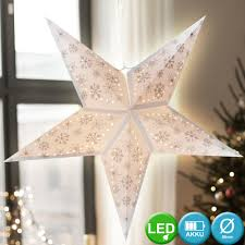 Led X Mas Decken Hänge Stern Weihnachts Lampe Fenster Deko Weiß Schnee Flocke Harms 920099