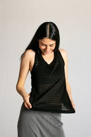 Limited Edition Striped Viscose Racer Back Tank Top