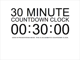 Countdown Clock For Powerpoint Presentation 30 Minute White Countdown Clock Presentation Powerpoint Slide