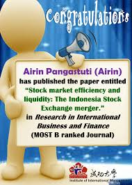 announcement congratulations airin pangastuti has published the airin pangastuti has published the paper in research in international business and finance 65288most b ranked journal65289