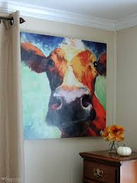 artsy sy colorful cow canvas painting