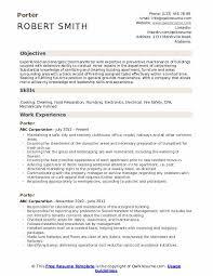 Porter Resume Examples Porter Resume Samples Qwikresume