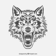 wolf face black and white. Simple Black Fierce Wolf Face Free Vector Intended Wolf Face Black And White F