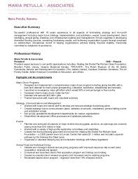 Resume Executive Summaries Maria Petulla Resume Executive Summary Professional History