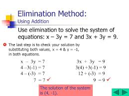 5 elimination method using addition use elimination to solve the system of equations