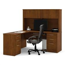 bestar embassy l shape home office wood computer desk set with hutch in tuscany brown