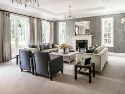 Monochromatic Living Room Decor Gray Area Rug Neutral Living Room Formal Pendant Light White