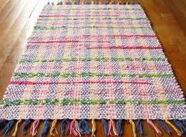 rag rug pink lime green hot pink handwoven eco friendly