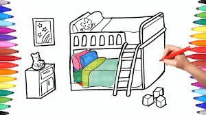 cartoon bunk bed. How To Draw A Children Bedroom With Bunk Bed | Drawing And Painting For Kids Learn Videos Cartoon