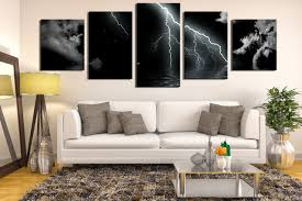 >5 piece large canvas modern huge canvas art cloud art panoramic  5 piece canvas wall art living room huge canvas wall art black modern photo