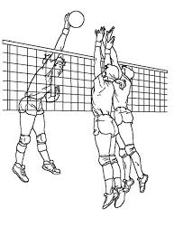 Volleyball Color Pages Volleyball Blocking An Attack Coloring Page Download Print