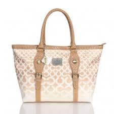 Coach Knitted Logo Signature Medium Apricot Satchels Outlet Cheap