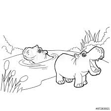 Hippopotamus Cartoon Coloring Pages Vector Buy This Stock Vector