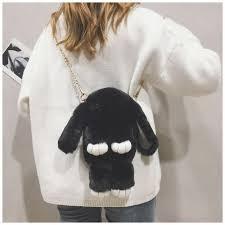<b>Pink Rabbit Faux Fur</b> Cute Purses Crossbody Cartoon Bags ...