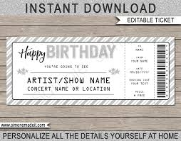 Cruise Gift Certificate Template Printable Concert Ticket Template Birthday Gift Voucher