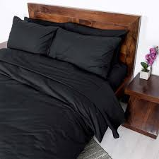 homescapes king size black egyptian cotton duvet cover set plain dyed percale 200 thread count with