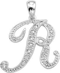 14k white gold 5 8 inch with 0 10ct diamond initial r pendant