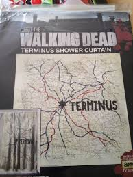 walking dead shower curtain terminus map edition by thinkgeek 72 tall and 72