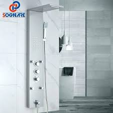 thermostatic shower panel waterfall rain shower faucets nickel shower panel with hand shower tub spout tower