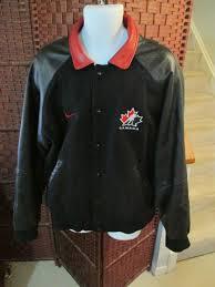 men s nike hockey team canada black wool varsity jacket leather sleeves size xl