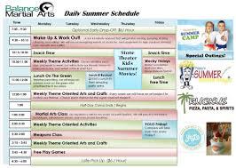 Summer Camp Weekly Schedule Martial Arts Summer Camp 2019 Balance Martial Arts
