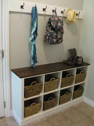 Cool Corner Bench Wicker Basket Storage With White Coat Hook Decor Ideas