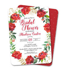 Holiday Birthday Invitation Red Floral Wreath Gold Glitter ...