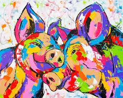 Afbeeldingsresultaat voor lachende varkens in schilderijen