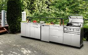 stainless steel outdoor kitchen with built in grill