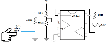 how to build a touch sensor circuit a voltage comparator chip touch sensor circuit voltage comparator