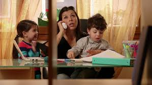 home office multitasking. Multitasking Mom Working At Home With Children, Busy Daughter And Son, Talking On Office