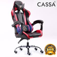 cassa back ergonomic racing style adjule gaming executive office chair black red
