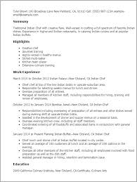 Resume Templates: Indian Chef