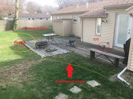 ground level deck or stone paver patio
