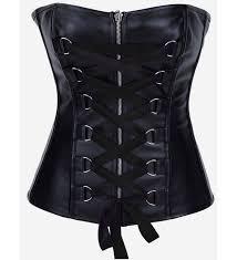 whole black lace up leather corset top plc532