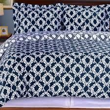 duvet cover 100 cotton moroccan medallion 3 piece bedding set navy blue white