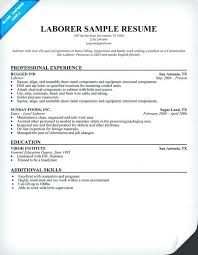 Sample Resume For Laborer – Foodcity.me
