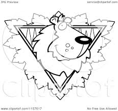 Cartoon Clipart Of A Black And White Lion Face over a Safari ...