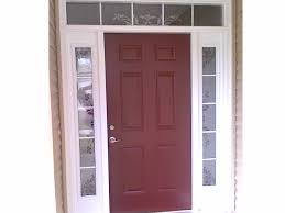 white double front door. Dark Cherry Wood Front Door With Double White Full Length Sidelight Plus Decorative Glass Details At Wooden Wall Panels U