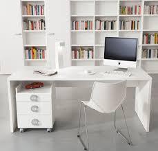 storage for office at home. Clean Small Moden Home Office Spaces With White Wall And Furniture Painted Interior Color Decor Combined Gray Floor Tiles Desk Chair In The Storage For At N