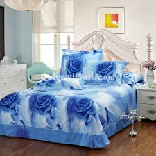 roses blue bedding sets duvet cover sets teen bedding dorm bedding 3d bedding fl bedding gift