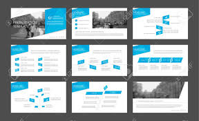set of blue infographic elements for presentation templates leaflet annual report book cover