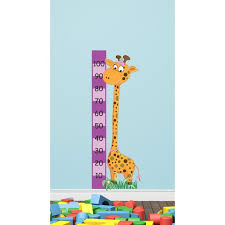 Childrens Pink Giraffe Height Chart Wall Sticker By The