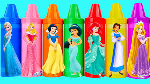 Learn Colors Play Doh Disney Princess Dresses Ariel Cars Sparkle
